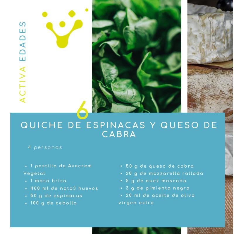 Ingredientes quiche de espinacas y queso de cabra